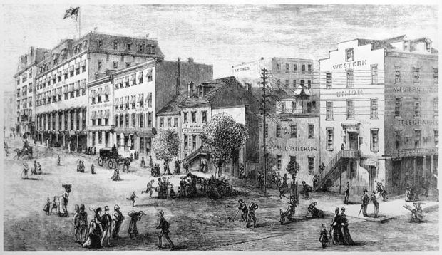 Newspaper Row _ Jan. 1874 _ New Harper's Monthly Magazine
