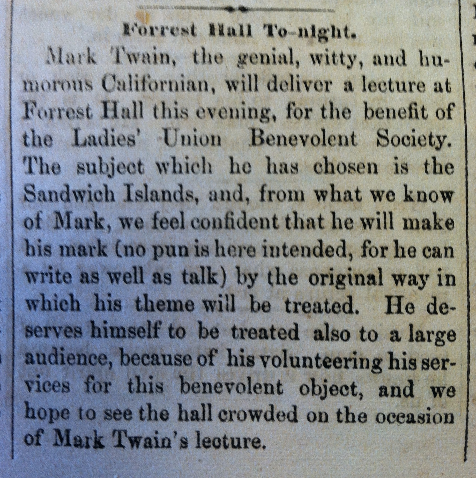 Essays By Mark Twain Georgertown Courier    Mark Twain At Forest Hall Copy Essays By Mark Twain
