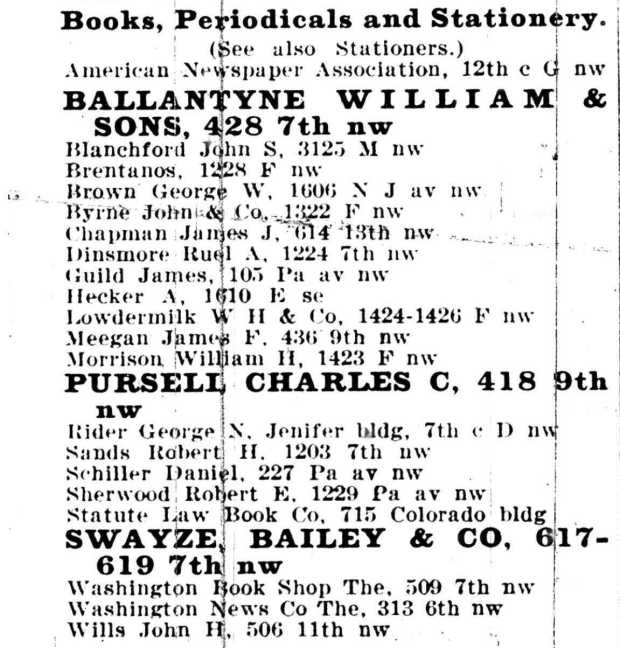 1905 Boyd's City Directory -- _ James Guild _ Book Stores p. 59