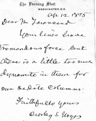 Crosby S. Notes to GATH, 12 April 1895