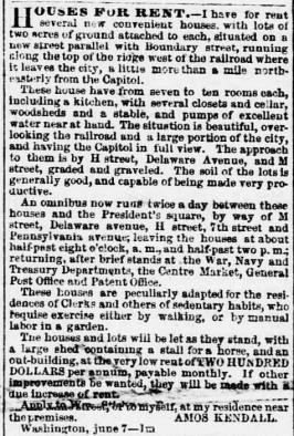 Daily evening star., June 26, 1854, Image 3 _ HOUSES FOR RENT - mention of omnibus