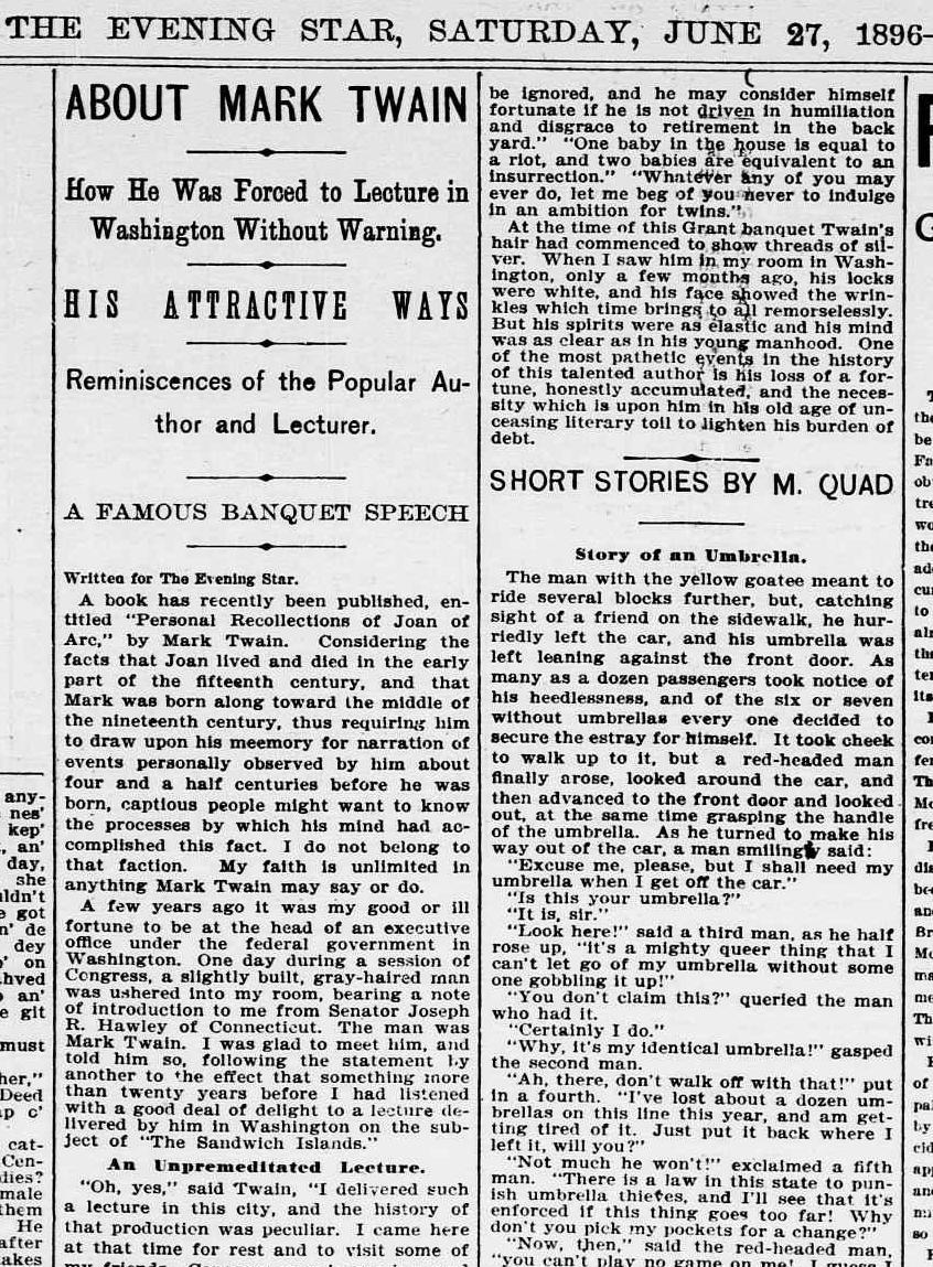 lecture circuit mark twain in washington d c es 1896 6 27 evening star pg 150001 about mark twain